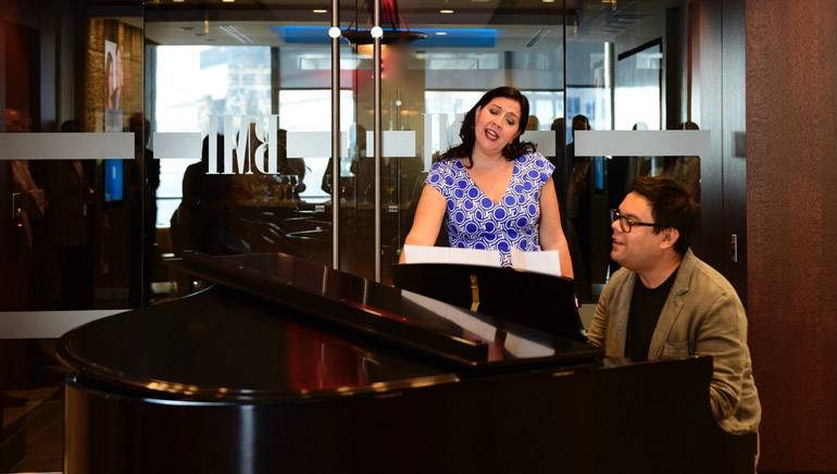 Award-winning workshop alumni Robert Lopez and Kristen Anderson Lopez perform at BMI's NY office.