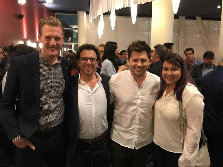 Pictured (L-R) are: BMI's Chris Dampier, BMI composers Jacob Shea and Jasha Klebe and BMI's Evelyn Rascon