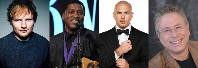 Pictured (L-R): Ed Sheeran; Babyface performs at the BMI Board of Directors NAB Dinner in 2014; Pitbull; Alan Menken