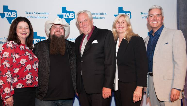 Pictured (L-R) during the meet-and-greet are: BMI's Jessica Frost, BMI songwriter Sundance Head, TAB Past Board Chairman and Bryan Broadcasting Vice President and General Manager Ben Downs, his wife Lillie Downs and TAB President Oscar Rodriguez.