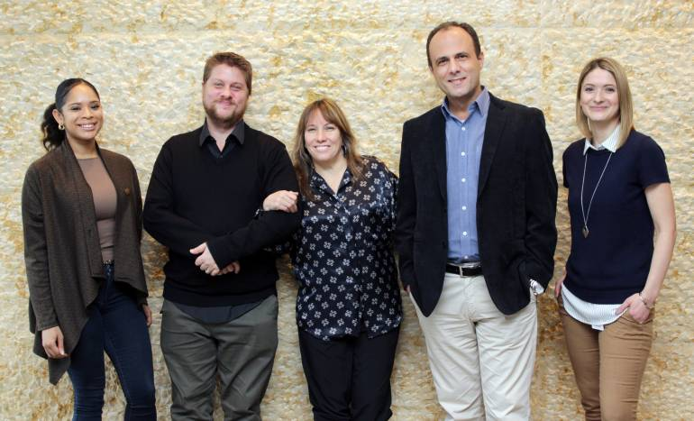 Peter Strauss, International, Distribution & Licensing Manager of Brazilian Society UBC and Fabio Geovane, UBC Chief Operating Officer, paid a visit to BMI's New York office recently to meet with members of the Company's International team. Pictured (L-R) are: BMI's Tynia Coats, UBC's Peter Strauss, BMI's Consuelo Sayago, UBC's Fabio Geovane and BMI's Krista Abraham.