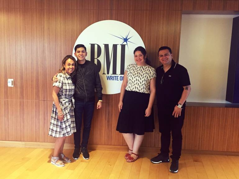 From Left: BMI's Delia Orjuela, Aaron Gil, BMI's Krystina DeLuna and Jimmy Humilde (Rancho Humilde, Label & Management)