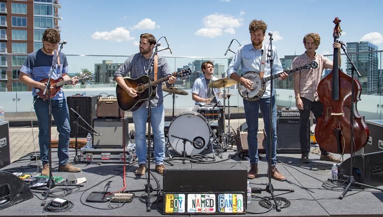 Bonnaroo veterans Boy Named Banjo play at the Acoustic Brunch festival kickoff party held at BMI.