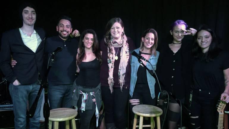 Photo (L-R): Taylor John Williams, Guitarist Mario, Hillary Bernstein, BMI's Ashley Saunders, Rebecca Perl, and Clay