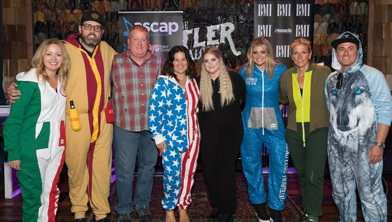 Pictured: (L-R): Warner Chappell's Alicia Pruitt, producer busbee, ASCAP's Mike Sistad, Big Yellow Dog's Carla Wallace, ASCAP writer Meghan Trainor, BMI singer-songwriter Lauren Alaina, BMI's Leslie Roberts and BMI writer Jesse Frasure.