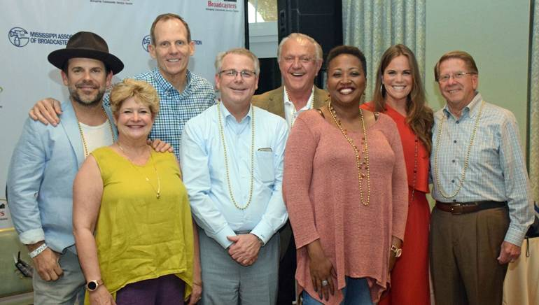 Pictured (L-R) after Bonnie's electrifying performance are: guitarist Ford Thurston, Louisiana Association of Broadcasters President and CEO Polly Johnson, BMI's Dan Spears,LAB Board Chair and KATC-TV President/GM Andrew Shenkan, Jackie Sherrill, Mississippi Association of Broadcasters President and CEO Karla Hooten, BMI songwriter Bonnie Bishop, MAB Board Chair and Retired iHeart Media executive Kenny Windham.