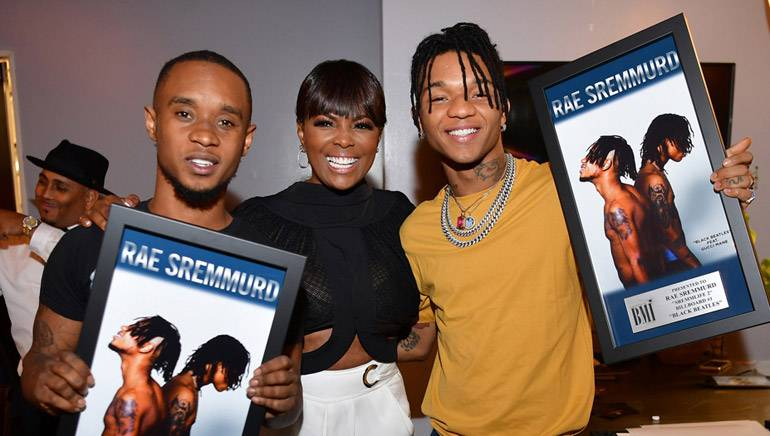 Slim Jxmmi, Catherine Brewton, VP Writer/Publisher Relations, and Swae Lee attend the BMI X Rae Sremmurd Dinner Party at Twisted Soul Cookhouse & Pours on May 16, 2017 in Atlanta, Georgia.