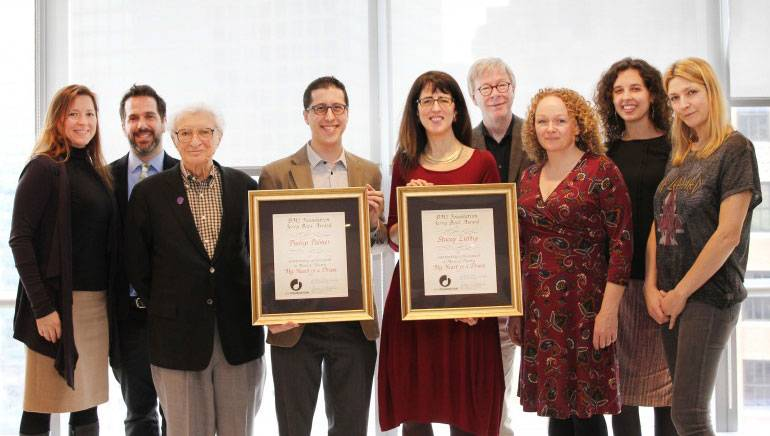 The BMI Foundation announces Stacey Luftig and Phillip Palmer as the winners of the 2017 Jerry Bock Award for Excellence in Musical Theatre. Pictured (L-R) are: BMI Foundation's Antonella DiSaverio, BMI Lehman Engel Musical Theatre Workshop Steering Committee Member Adam Mathias, BMI composer Sheldon Harnick, 2017 Jerry Bock Award winners Phillip Palmer and Stacey Luftig, and BMI Foundation's Pat Cook, Deirdre Chadwick, Amanda Charnley, and Samantha Cox.