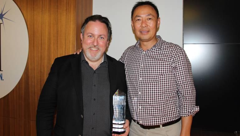 Pictured (L-R) at the 20th anniversary reception are: BMI composer and conductor Lucas Richman and BMI's Ray Yee.