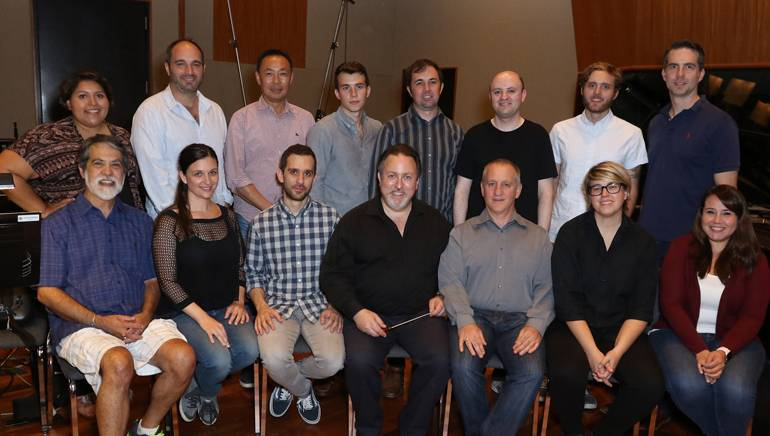 Pictured (L-R) at the BMI conducting workshop are (back row): BMI's Olivia Garcia, BMI composer Mike Simon, BMI's Ray Yee, BMI composers Forrest Gray and Gabriel Hays, BMI's Philip Shrut and BMI composers Duncan Thum and Zack Ryan. (front row): Music editor Chris Ledesma, BMI composers Becky Kneubuhl and Alexis Grapsas, BMI composer and conductor Lucas Richman, music contractor David Low, BMI composer Allyson Newman and BMI's Evelyn Rascon.