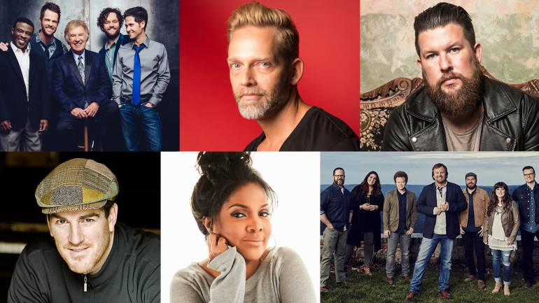 Top row: Gaither Vocal Band, Bernie Herms, Zach Williams; Bottom row: Ed Cash, CeCe Winans, Casting Crowns