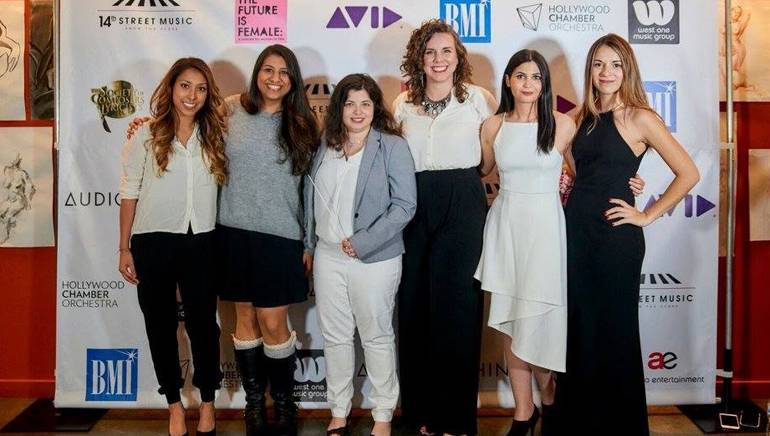 """Pictured (L-R): BMI composer Tangelene Bolton, BMI's Reema Iqbal and BMI composers Nami Melumad, Jessica Rae Huber, Tori Letzler and Perrine Virgile-Piekarski pause for a photo at """"The Future is Female"""" concert."""