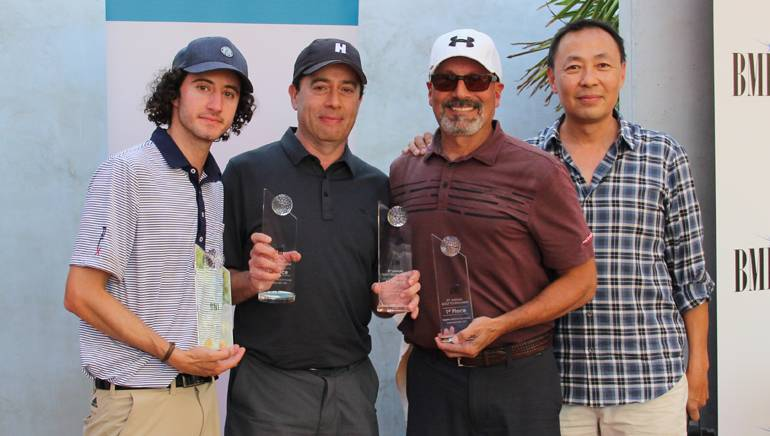 Pictured (L-R) are the tournament's 1st place winners: Evan Winiker, Rick Krim, Brian Malouf and BMI's Ray Yee.