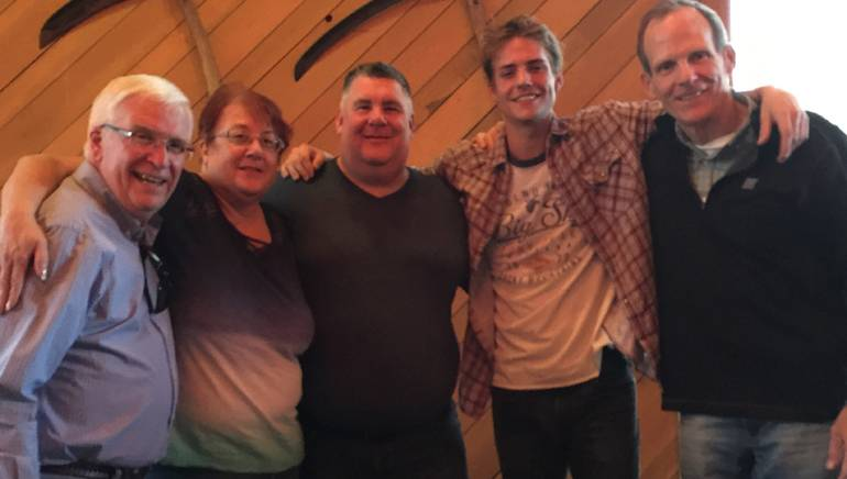 Pictured (L-R) after Corey Harper's performance at the 2017 Montana Broadcasters Association convention are: MBA President and CEO Dewey Bruce, KXLO/KLCM Station Manager and incoming MBA Board Chair Phyllis Hall, Montana TV Network Group Manager and outgoing MBA Board Chair Jon Saunders, BMI songwriter Corey Harper and BMI's Dan Spears.