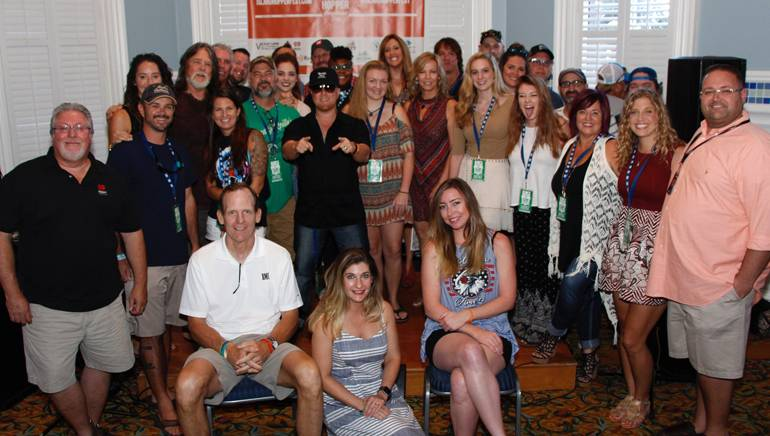 BMI's Dan Spears with the Island Hopper Fort Myers Beach songwriters and the iHeart Media & VCB teams.