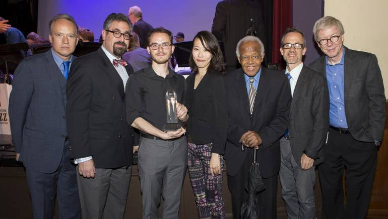 Pictured (L-R) at the 29th Annual Jazz Composers Workshop Summer Showcase concert are: Jazz Composers Workshop associate musical director Ted Nash, JCW musical director Andy Farber, Charlie Parker Prize winner Remy Le Boeuf, 2015 Charlie Parker Prize winner and 2017 judge Miho Hazama, judge Slide Hampton, judge Chris Byars and BMI's Patrick Cook.