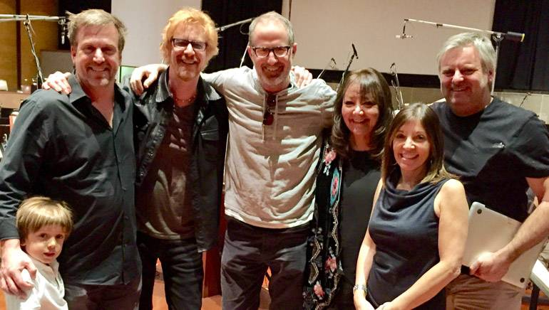 Pictured (L-R) at the scoring session on December 15 are producer Ben Odell's son, Ben Odell, BMI composer Lyle Workman, director/writer Rob Greenberg, BMI's Doreen Ringer-Ross, MGM's Lori Silfen and director/producer/writer Bob Fisher.