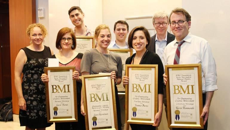 Pictured: (L-R) BMI Foundation President Deirdre Chadwick; Laurel Haines; Alex Ratner; Laura Kleinbaum; Brandon Lambert; Joanna Burns; BMI Director of Musical Theatre Pat Cook; Kevin Hammonds.
