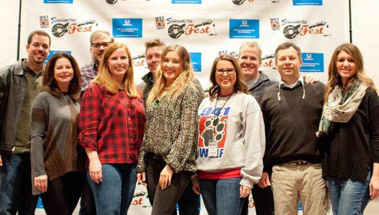 Pictured (L-R) before the performance are (Back Row): 94.1 The Wolf's Director of Brand & Music Programming Chris Michaels, BMI songwriter Barry Dean, 94.1 The Wolf's Music Director/Assistant Program Director & Morning Show Host Marty Brooks and BMI songwriter Casey Beathard. (Front Row): BMI's Jessica Frost, 94.1 The Wolf's Director of Sales Amy Hughes, BMI songwriter Sarah Buxton, 94.1 The Wolf's Social Media & Marketing Administrator Brandy Davis, 94.1 The Wolf's Vice President & Market Manager Dan Barron and BMI's Laura Crider.