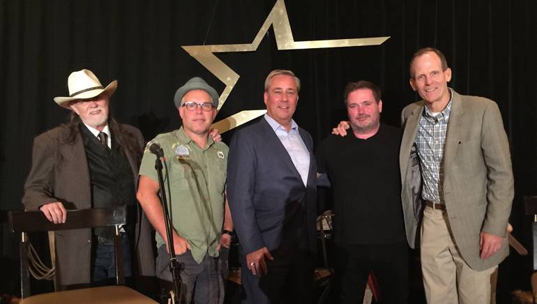 Pictured before the Bluebird Cafe-style guitar pull are: BMI songwriters Aaron Barker and Danny Myrick, Nexstar Media Group Chairman/President/CEO Perry Sook, BMI songwriter Dylan Altman and BMI's Dan Spears.