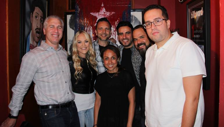Pictured at BMI Noche Bohemia (l-r) are: BMI Executive Vice President of Creative and Licensing Mike Steinberg, BMI songwriter Sarah Lenore, BMI songwriter and music producer José Luis Pagán, BMI songwriter Alicastro, BMI Executive Director, Creative, Latin Music, Joey Mercado, BMI Director Creative, Latin Music, Rafael Martinez and BMI Vice President, Creative, Latin Music, Delia Orjuela.
