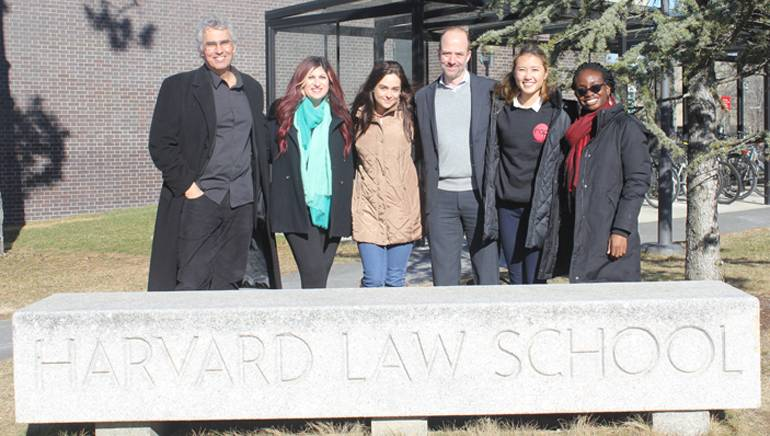 Guest lecturers and RAP student executive board members gather on the Harvard Law School campus for a photo. Pictured (L-R) are: Entertainment attorney, writer & scholar Corey Field, Esq., BMI's Senior Director, Anne Cecere, RAP Director of Events Rebecca Rechtszaid, SVP Legal & Business Affairs for peermusic, Tim Cohan, Esq., RAP President Jennifer Marr and RAP Speaker Liaison Kike Aluko.