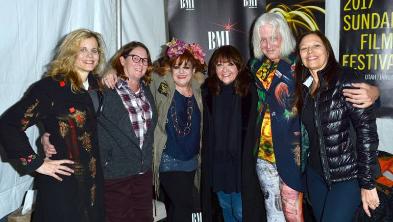 (L-R) Actress and cellist Lori Singer, BMI Executive Alison Smith, singer/songwriter Angela McCluskey, BMI Executive Doreen Ringer-Ross, composer and multi-instrumentalist Paul Cantelone and Laura Engel attend the BMI Snowball presented by Canada Goose during the 2017 Sundance Film Festival at Festival Base Camp on January 25, 2017 in Park City, Utah.