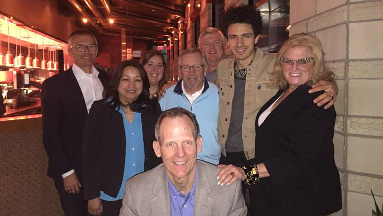 Pictured (L-R) after a special BMI hosted dinner with customers and association partners are (standing): National Restaurant Association SVP of Business Innovation & Development Perry Quinn, NRA SVP of Sponsorships Kathie Vu, NRA Director of Membership Development Meghan Cassidy, Rhode Island Hospitality Association's Tony DeFusco, Macayo Restaurants CFO Bob Myers, BMI songwriter Marc Scibilia, and Rhode Island Hospitality Association President/CEO Dale Venturini. (kneeling): BMI's Dan Spears.