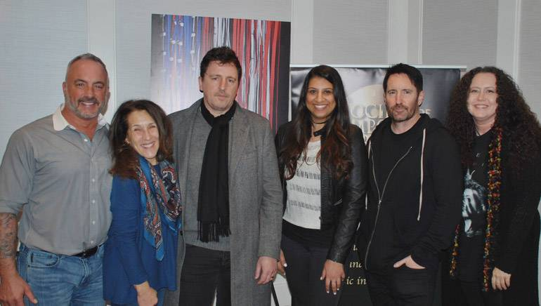 Pictured: BMI's Michael Crepezzi and Barbie Quinn, BMI composer Atticus Ross, BMI's Reema Iqbal, composer Trent Reznor, and SCL's Lynn Kowal.