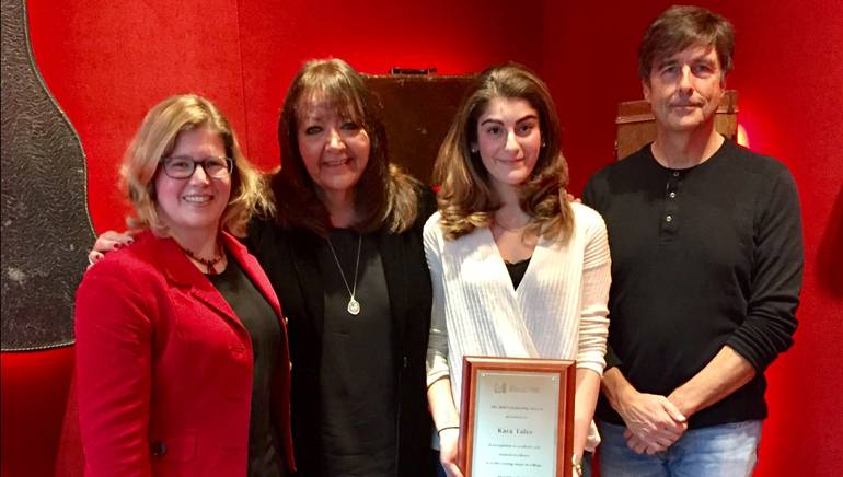 Pictured (L-R) at the BMI scholarship presentation are: Chair of Berklee's film scoring department and award-winning BMI composer Alison Plante; BMI Vice President of Film, TV & Visual Media Relations, Doreen Ringer-Ross; film scoring student Kara Talve; and award-winning BMI composer Thomas Newman.