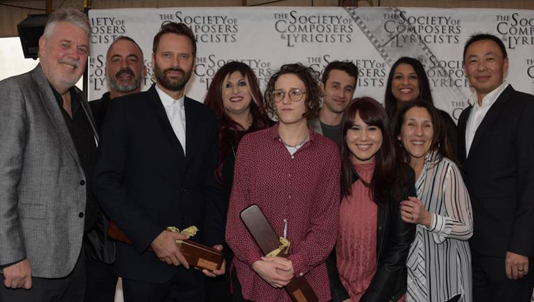 Pictured (L-R) at the SCL reception on Saturday, February 25, 2017, at Eveleigh in West Hollywood are: (Back row) BMI's Executive Director Distribution & Administration Services, Michael Crepezzi; Senior Director Film/TV & Visual Media Relations, Anne Cecere; 2017 Oscar-winning BMI composer and songwriter Justin Hurwitz; Associate Director Film/TV & Visual Media Relations, Reema Iqbal; and Assistant Vice President Film/TV & Media Relations, Ray Yee. (Front row) SCL President, Ashley Irwin; Oscar-nominated BMI composer Dustin O'Halloran; composer Mica Levi (PRS), BMI's Executive Assistant Film/TV & Visual Media Relations Evelyn Rascon; and Associate Director Distribution & Administration Services Barbie Quinn.