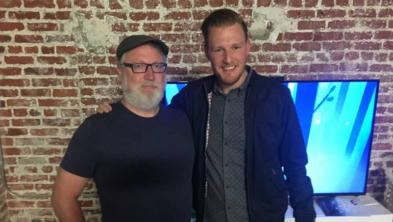 "Award-winning composer Scot Stafford pauses for a photo with BMI's Chris Dampier at the viewing party celebrating the release of the virtual reality short ""Sonaria."""