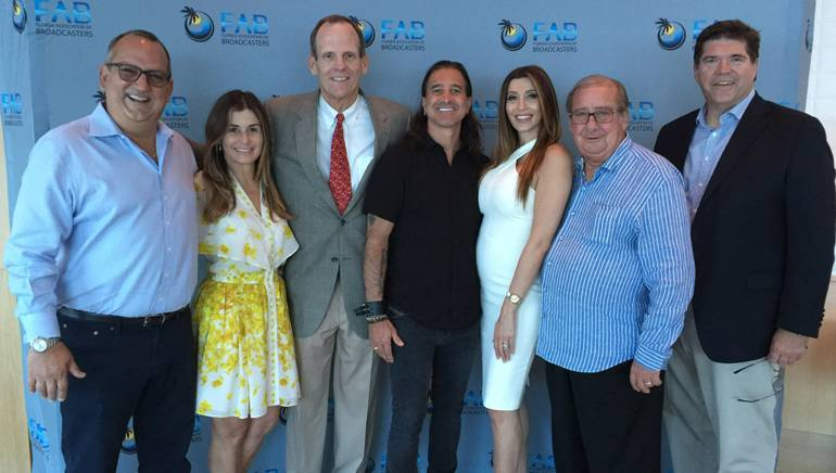 Pictured (L-R) before the award ceremony are: Univision Communications Senior VP and FAB Board Chair Luis Fernandez-Rocha, Lisette Fernandez-Rocha, BMI's Dan Spears, Scott Stapp, Jaclyn Stapp, FAB President and CEO Pat Roberts and Commonwealth Broadcasting President and BMI Board Member Steve Newberry.