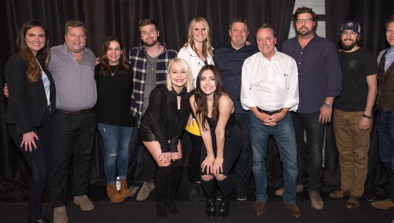 Pictured: (L-R Back row): BMI songwriter Claire Douglas, BMI's Bradley Collins, BMI songwriter Lori McKenna, songwriter Jimmy Robbins, BMI songwriters Nicolle Galyon and Rodney Clawson, BMI's Jody Williams, BMI songwriters Dallas Davidson, Brad Clawson and Tom Douglas. (Front row): Songwriters RaeLynn and Emily Weisband.