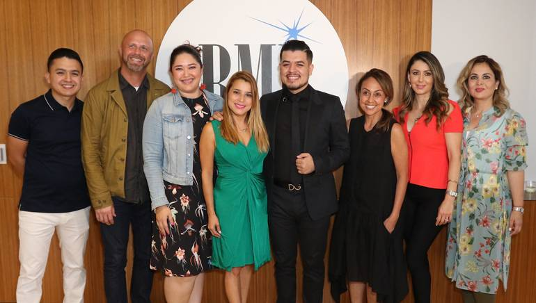 Pictured (L-R) at Noel Torres' private exclusive listening reception at BMI's Los Angeles office are: NT Music Records USA team members Jaime Torres, Steve Weatherby, BMI's Krystina DeLuna, NT Music Records USA team member Meyber Santos-Gale, singer/songwriter Noel Torres, BMI's Delia Orjuela, NT Music Records USA team members Cassandra Hernández and Cynthia Vengas.