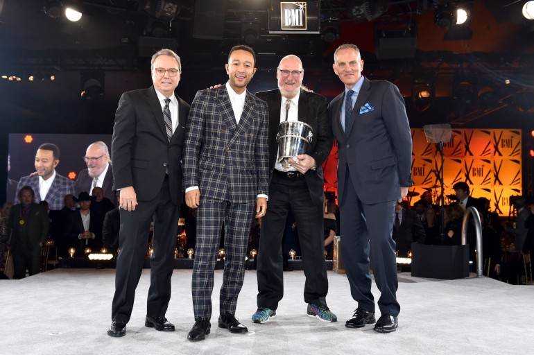 BMI Vice President Creative Jody Williams, John Legend, Steve Cropper and BMI President & CEO Mike O'Neill onstage at the BMI Country Awards 2018 on November 13, 2018 in Nashville.