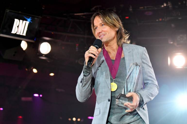 Keith Urban accepts the 2017 Champion Award onstage during the 65th Annual BMI Country Awards at BMI on November 7, 2017 in Nashville, Tennessee.