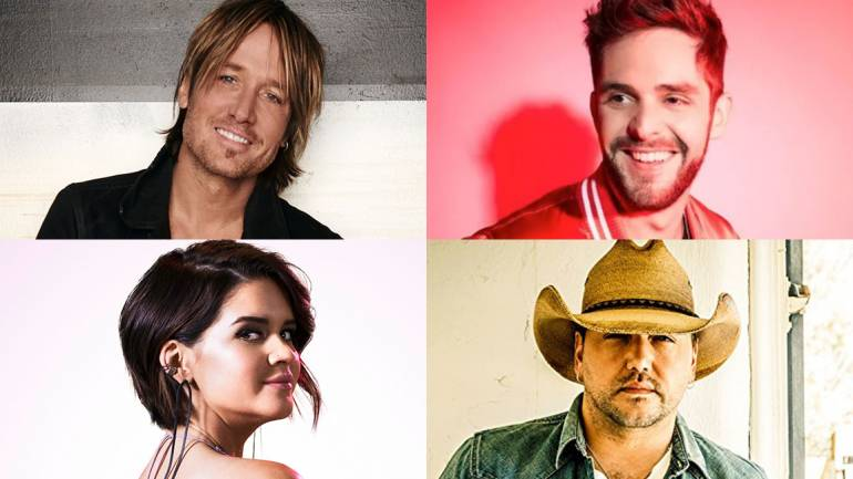 Pictured clockwise from top left are: Keith Urban, Thomas Rhett, Jason Aldean and Maren Morris