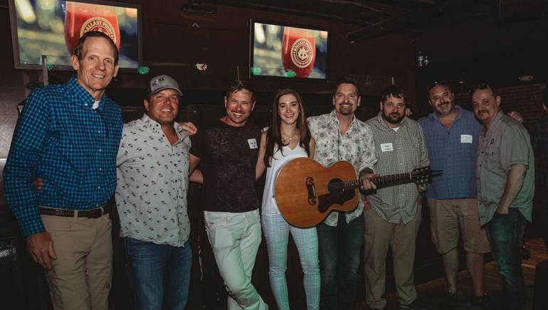 Pictured before George Ducas' performance at the Colorado Bar & Restaurant Expo are: BMI's Dan Spears, Dive Inn owner Jason Tietjen, X Bar and Squire Lounge owner Steven Alix, Tavern League of Colorado Director Stephanie Fransen Hicks, BMI songwriter George Ducas, Stoney's Bar & Grille owner Stoney Jesseph, Stoney's Uptown owner Will Trautman and Tavern Hospitality Group CEO Gary Mantelli.