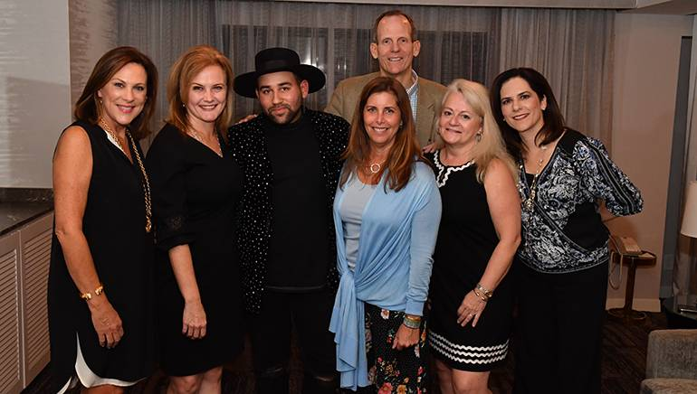 Pictured (L-R) before Parson James' performance at the CSRA conference in Tucson are: North Carolina Restaurant & Lodging Association President & CEO and CSRA Board Chair Lynn Minges, CSRA Executive Vice President Suzanne Bohle, BMI songwriter Parson James, New Jersey Restaurant & Hospitality Association President Marilou Halvorsen, BMI's Dan Spears, Georgia Restaurant Association CEO Karen Bremer and Colorado Restaurant Association CEO Sonia Riggs.