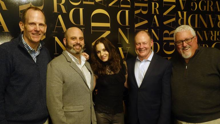 Pictured (L-R) after Kara DioGuardi's performance are: BMI's Dan Spears, Big Night Entertainment Group Director of Restaurant Operations Jamie Pollock, BMI songwriter Kara DioGuardi, Horseshoe Grille Owner and Massachusetts Restaurant Association Board Chair Pat Lee, and MRA President and CEO Bob Luz.