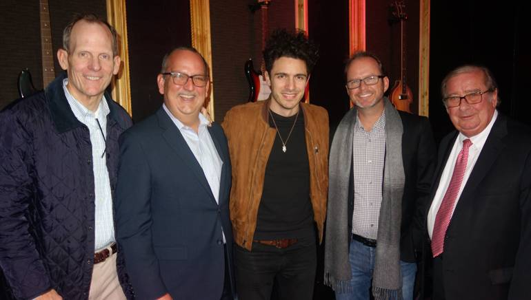 Pictured (L-R) before Scibilia's performance are: BMI's Dan Spears, FAB Board Chair and Univision Station Group Senior VP Luis Fernandez-Rocha, BMI singer-songwriter Marc Scibilia, Cox Media Group VP Keith Lawless and FAB President and CEO Pat Roberts.