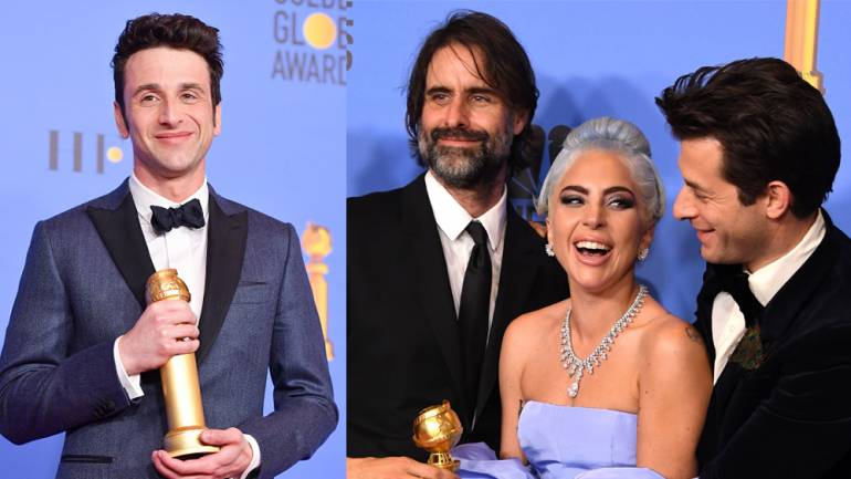 Pictured (L-R) are: Justin Hurwitz, Andrew Wyatt, Lady Gaga and Mark Ronson