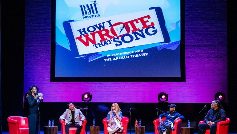 Moderator and BMI's VP, Creative, Catherine Brewton discusses the creative process with RedOne, Faith Evans, Tory Lanez and Mark Batson during BMI's How I Wrote That Song 2018