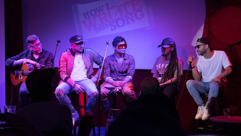 """Pictured onstage at BMI's""""How I Wrote That Song""""®(L to R): Yasmil Marrufo, Mario Cáceres, Servando Primera, Patrick Ingunza, and Haze"""