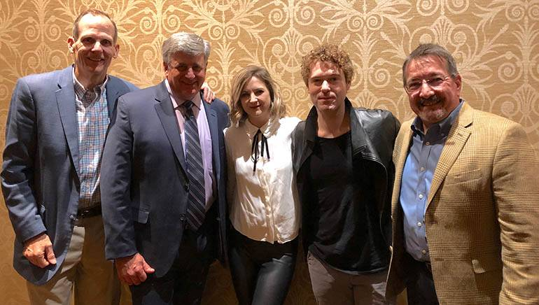 Pictured (L-R) after the performance at the Maine Hospitality Summit are: BMI's Dan Spears, HospitalityMaine CEO Steve Hewins, Sarah Zimmerman and Justin Davis of Striking Matches and DiMillo's Restaurant owner/manager and HospitalityMaine Board Vice Chair Steve DiMillo.