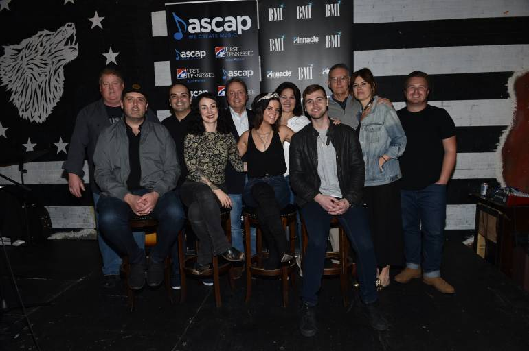 (L-R) Front Row: busbee, Laura Veltz, Maren Morris, Jimmy Robbins Back Row: ASCAP's Mike Sistad, BMLG's Mike Molinar, BMI's Jody Williams, Big Yellow Dog's Carla Wallace, Sony Nashville's Randy Goodman, Janet Weir, and Round Hill's Josh Saxe