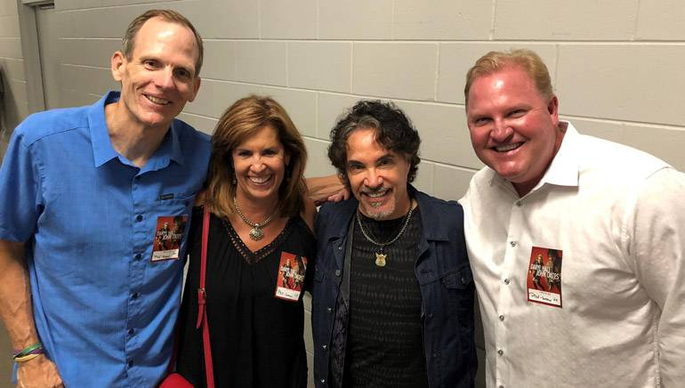 Pictured backstage prior to the H & O performance in Orlando are:  BMI's Dan Spears, iHeart Media Regional President Linda Byrd, award-winning BMI songwriter John Oates and Hearst Television Market President John Soapes.