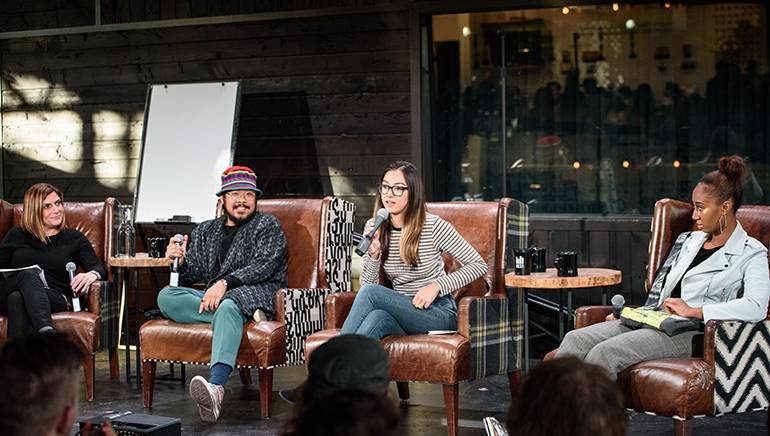"L to R- BMI's Tracie Verlinde, Mndsgn, Hollis Wong-Wear of The Flavr Blue and ParisAlexa speak at the ""Mastering The Hustle"" panel on November 17th at Seattle's KEXP."