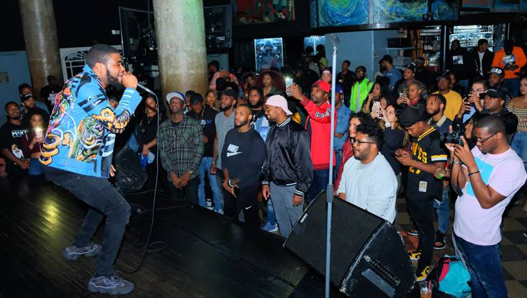 """Brooklyn native Kas takes the stage at BMI's """"Know Them Now"""" showcase at S.O.B.'s."""